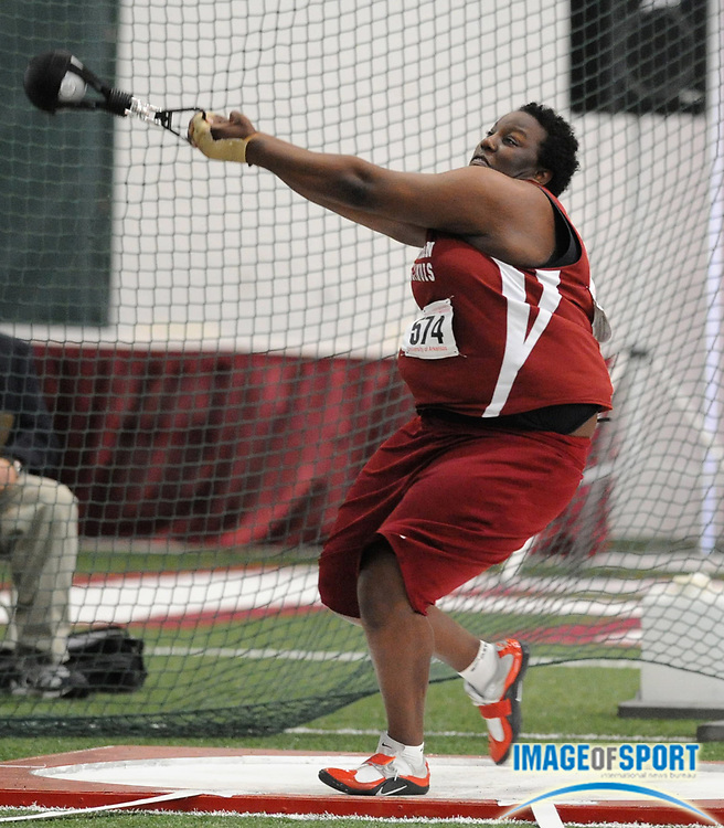 Mar 14, 2008; Fayetteville, AR, USA; Brittany Riley of Southern Illinois won the women's weight throw at 83-1 (25.34m) in the NCAA Indoor track and field championships at the Randal Tyson Center. Mandatory Credit: Kirby Lee/Image of sport-US PRESSWIRE