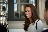 The Duchess of Cambridge attended a breakfast reception at The National Maritime Museum in Greenwich. The Duchess met supporters of the bid to launch a British Team for the America's Cup, headed by Sir Ben Ainslie. The Duchess met crew and boat designers before viewing an America's Cup class boat at the museum.<br /> <br /> Picture shows Duchess of Cambridge and America's Cup<br /> <br /> Credit: Lloyd Images<br /> Rights free for editorial use.