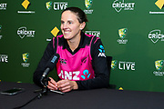 Amy Satterthwaite manages a smile at the post match press conference after her White Ferns lose the T20 International Series to Australia. Women's T20 international Cricket, Australia v New Zealand White Ferns.  Manuka Oval, Canberra, 5 October 2018. Copyright Image: David Neilson / www.photosport.nz