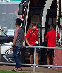 JAKARTA, INDONESIA - Wednesday, July 17, 2013: Liverpool's captain Steven Gerrard steps off the team coach as his side take a walk around the Gelora Bung Karno Stadium ahead of their game against Indonesia as part of their Preseason Tour. (Pic by David Rawcliffe/Propaganda)