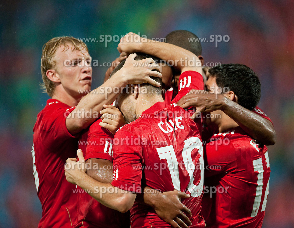 26.08.2010, Hueseyin Avni Aker Stadion, Trabzon, TUR, UEFA EL, Trabzonspor vs Liverpool FC, im Bild Liverpool's Glen Johnson (hidden) celebrates with team-mates after his side's equalising, EXPA Pictures © 2010, PhotoCredit: EXPA/ Propaganda/ D. Rawcliffe *** ATTENTION *** UK OUT! / SPORTIDA PHOTO AGENCY