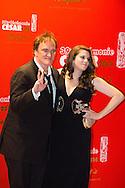 France, Paris, Quentin Tarantino arrive au Fouquets pour le repas après les César 2014, Restaurant le Fouquet's