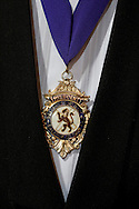 The president's medal, worn by Stuart Ross of the Sandbach and District Caledonian Society, Cheshire, England, at a St. Andrew's dinner dance held at Sandbach Town Hall on St. Andrew's Day. Around 40 people from the Society attended the meal and dance which included a programme of Scottish country dancing. St. Andrew was the patron saint of Scotland and the day was celebrated by Scots worldwide on the 30th November.
