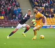 Dundee's Mark O'Hara goes past Motherwell's Joe Chalmers - Motherwell v Dundee in the Ladbrokes Scottish Premiership at Fir Park, Motherwell.Photo: David Young<br /> <br />  - © David Young - www.davidyoungphoto.co.uk - email: davidyoungphoto@gmail.com