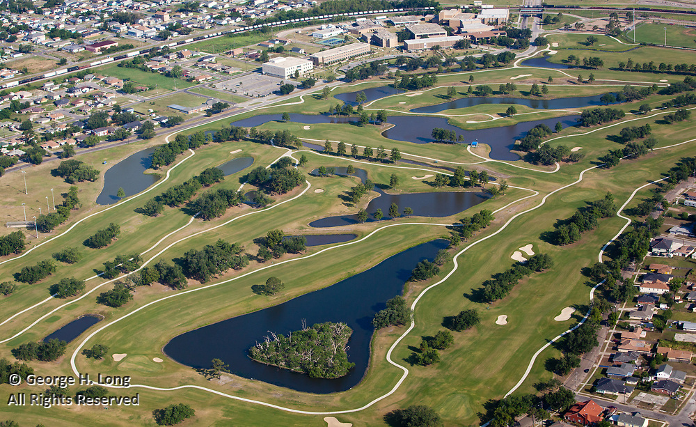 aerial view of golf course in New Orleans City Park