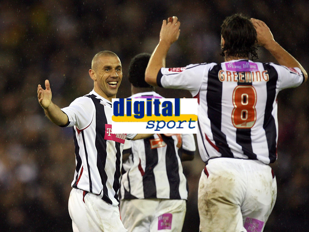 Photo: Rich Eaton.<br /> <br /> West Bromwich Albion v Wolverhampton Wanderers. Coca Cola Championship. Play off Semi Final 2nd Leg. 16/05/2007. West Broms Kevin Phillips (left) scores the first goal of the evening and celebrates with Jonathan Greening