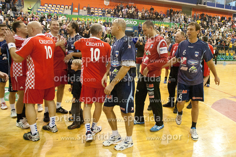 Team Slovenia 2000 and team Croatia 1996 during memorial game between EX-National teams of Slovenia and Croatia that played at Summer Olympics games Sydney 2000 as a tribute to former Slovenian and Croatian handball player Iztok Puc. He was one of the world's top handball players of the 1980s and 1990s. He died of leukemia on October 20, 2011 during treatment in USA, 46-years old. The humanitarian event was held on November 5, 2011 in Arena Zlatorog, Celje, Slovenia. (Photo by Urban Urbanc / Sportida Photo Agency)