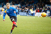 new signing Shrewsbury Town FC forward Stephen Humphreys (9) warms up before kick off during the EFL Sky Bet League 1 match between Gillingham and Shrewsbury Town at the MEMS Priestfield Stadium, Gillingham, England on 28 January 2017. Photo by Andy Walter.