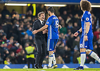 Football - 2016 / 2017 Premier League - Chelsea vs. Stoke City <br /> <br /> Chelsea Manager Antonio Conte singles out Diego Costa at the end of the match for some special congratulations at Stamford Bridge.<br /> <br /> COLORSPORT/DANIEL BEARHAM