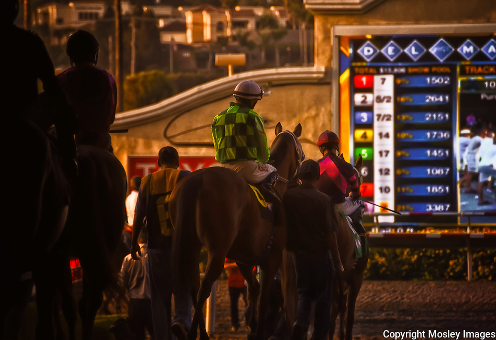 Professional Jockey and Groom enter Del Mar Race Track for Post Parade, photo by Barry A Mosley, Lincoln, Nebraska Sports Photographer.