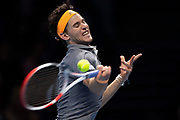 Dominic Thiem of Austria in action during the Nitto ATP finals at the O2 Arena, London, United Kingdom on 17 November 2019.
