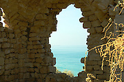 view out to sea from the Ancient fortifications, Ashkelon National park, Israel<br /> Ashkelon is built upon the ruins of past civilizations. This was one of five Philistine city-states. The city also plays a role in biblical history as the place where Delilah cut Samson's hair to sap his strength. Ashkelon was also a great trading center because it lay along the Via Maris, the route linking Egypt with Syria and Mesopotamia. The city became a Christian city in the Byzantine period and was captured by the Muslims in 638 C.E. The Crusaders came next in 1153, but were defeated by Saladin. Richard the Lion Heart led the Crusaders back, but they were eventually driven out in 1280 by Sultan Baybars. The city was then abandoned until 1948 when the Jews of the new State of Israel began to rebuild it.