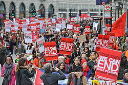 © Licensed to London News Pictures. 10/03/2018. LONDON, UK.  Thousands of women take part in the annual Million Women Rise march and rally, walking from Oxford Street to Trafalgar Square to protest against male violence towards women.  Photo credit: Stephen Chung/LNP