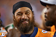DENVER, CO - AUGUST 11:  Domata Peko Sr. #94 of the Denver Broncos on the sidelines during a game against the Minnesota Vikings during week one of preseason at Broncos Stadium at Mile High on August 11, 2018 in Denver, Colorado.  The Vikings defeated the Broncos 42-28.  (Photo by Wesley Hitt/Getty Images) *** Local Caption *** Domata Peko Sr.