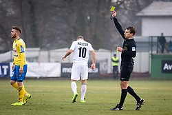 Referee showing yellow card to Požeg Vancaš of NK Celje during football match between NŠ Mura and NK Celje in 18th Round of Prva liga Telekom Slovenije 2018/19, on December 2, 2018 in Fazanerija, Murska Sobota, Slovenia. Photo by Blaž Weindorfer / Sportida