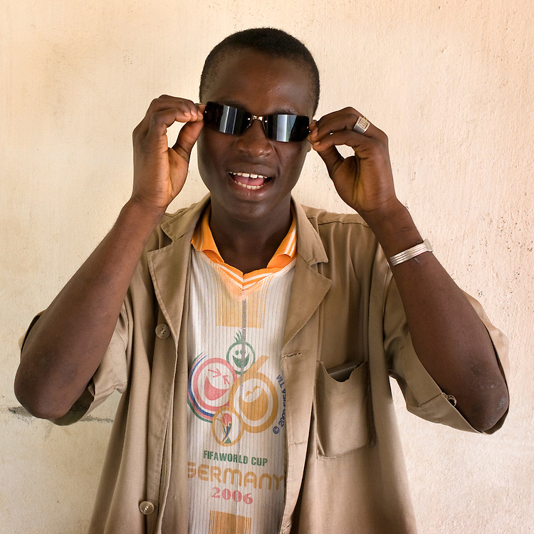 February 2008 - Martial Quenum, 18 years old, student at the  School for the Blind in Cotonou, Benin. The School takes 80 blind students surrounding villages and at no cost to their families teaches them geography, science, math and a work for the future. Though the school belongs to the state, it receives considerable funding from ONG.