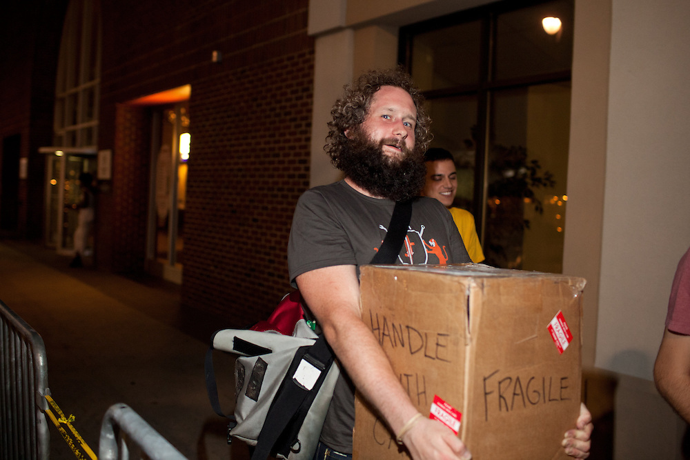 Hopscotch Co-Director Grayson Currin, makes a special delivery, Friday, Sept. 8, 2011.