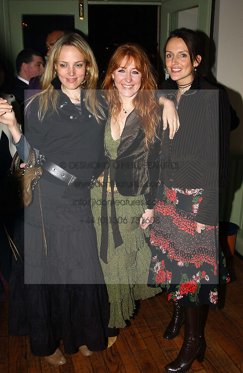 Left to right, BAY GARNETT, CHARLOTTE TILBURY and SAFFRON ALDRIDGE at a party to celebrate the publication of Style by interior designer Kelly Hoppen held at 50 Cheyne Walk, London on 10th November 2004.<br />