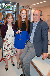 JAMES & LAVINIA GILBEY and her daughter HELENA HADSLEY-CHAPLIN at a party to celebrate the re-launch of the Ghost Flagship store at 120 King's Road, London on 15th April 2015.