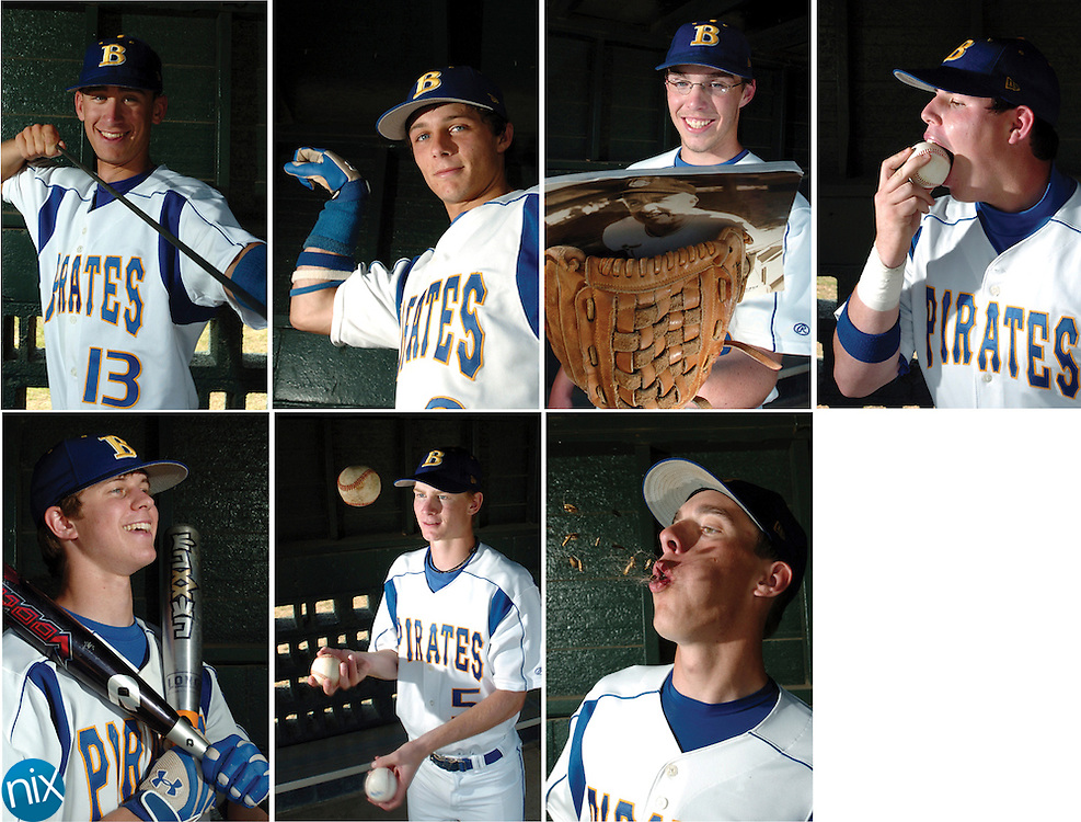 Seven Seniors will lead the Brunswick High School Pirates into the Region 3-AAAA baseball playoffs. The Pirate senior class includes Cason Mobley, top row from left, Chris Newsome, Dane Pratt, Rory Mock,; bottom row from left, Ryan Jones, Jeff Brown and Trace Brooks.