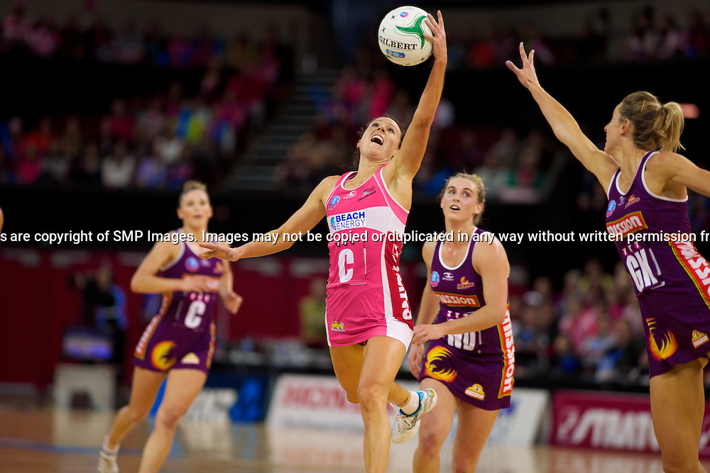 NATALIE VON BERTOUCH - Action from the 2013 ANZ Championship Grand Final between the Adelaide Thunderbirds and Queensland Firebirds played at the Adelaide Entertainment Centre, Adelaide, South Australia, Sunday 14th July, 2013. [Photo: Ryan Schembri - SMP Images]
