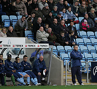 Photo: Lee Earle.<br /> Coventry City v Crystal Palace. Coca Cola Championship. 13/01/2007. The pressure is on Coventry manager Micky Adams (BR) after going in at half time 1-4 down.