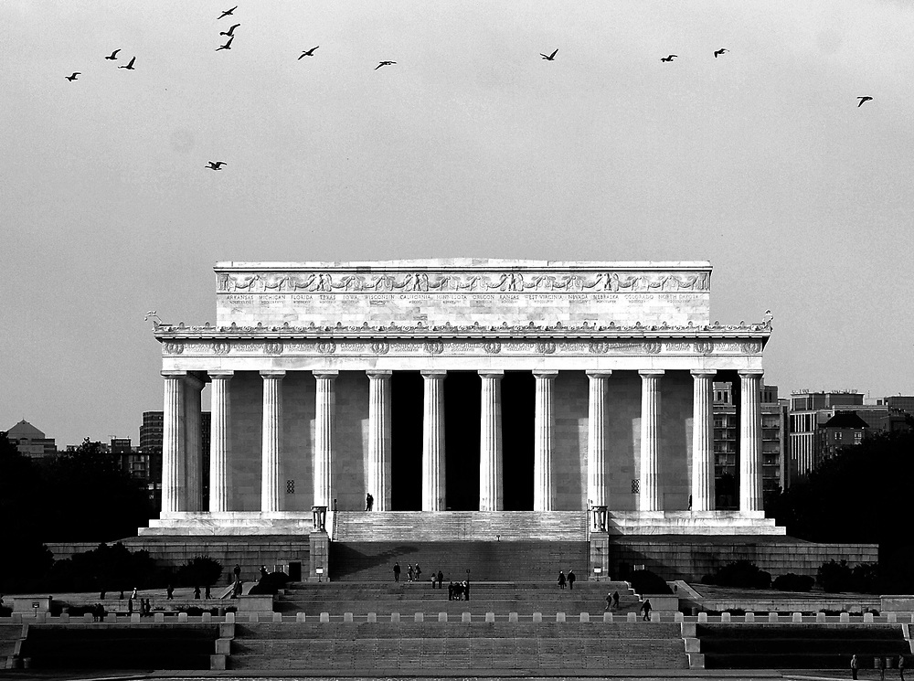 Birds fly near the Lincoln Memorial on the National Mall in Washington D.C.