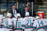KELOWNA, CANADA - JANUARY 22: Kris Mallette, assistant coach and Brad Ralph, head coach stand not the bench against the Tri City Americans on January 22, 2016 at Prospera Place in Kelowna, British Columbia, Canada.  (Photo by Marissa Baecker/Shoot the Breeze)  *** Local Caption *** Kris Mallette; Brad Ralph;