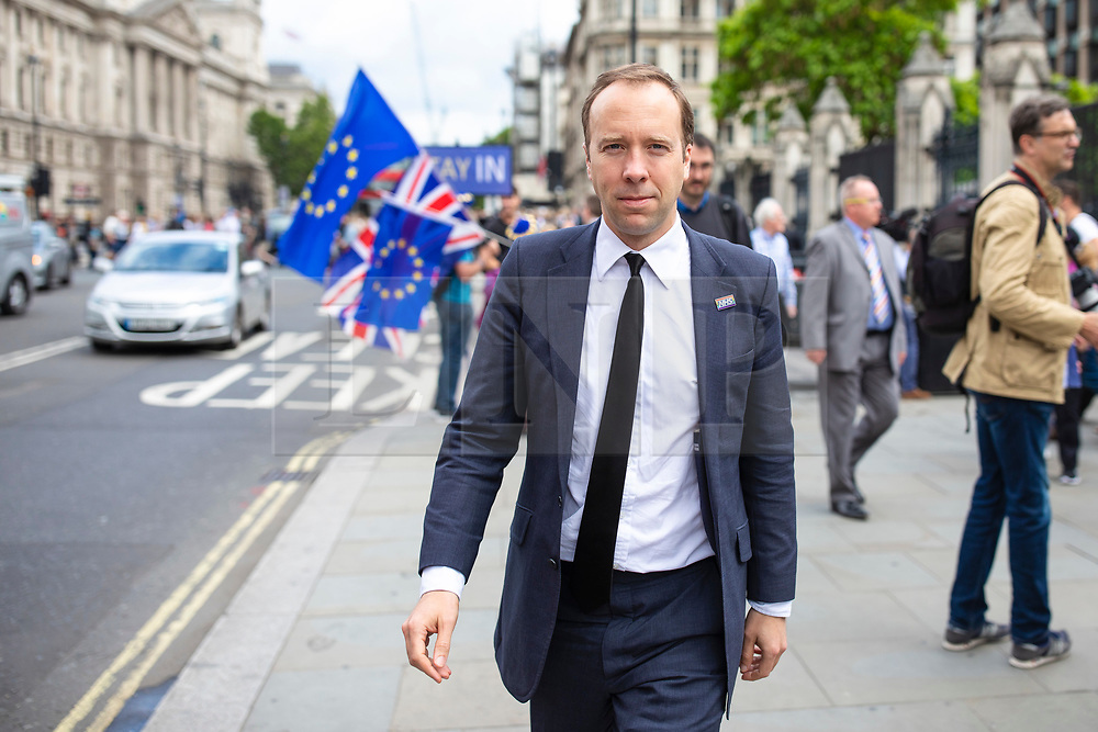 © Licensed to London News Pictures. 20/06/2019. London, UK. Former leadership contender Secretary of State for Health and Social Care Matt Hancock leaves Parliament after voting in the leadership campaign. The final two candidates will be put to the party membership in a ballot. Photo credit: Rob Pinney/LNP