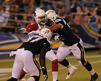 August 28, 2014: San Diego, Ca; USA: San Diego Chargers Defensive Tackle Chas Alecxih (70) sacks Arizona Cardinals Quarterback Logan Thomas (6) during the NFL American Football Herren USA Pre-Season game between the Arizona Cardinals and the San Diego Chargers at Qualcomm Stadium. NFL American Football Herren USA AUG 28 Preseason - Cardinals at Chargers PUBLICATIONxINxGERxSUIxAUTxHUNxRUSxSWExNORxONLY Icon140828025<br />