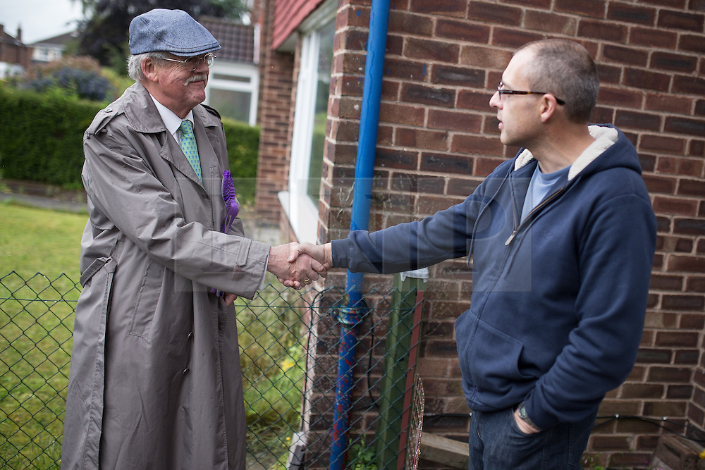© Licensed to London News Pictures . 04/06/2014 . Bingham , Nottinghamshire , UK . UKIP candidate Roger Helmer meets UKIP voter Michael Shortley when out knocking doors in Bingham today (Wednesday 4th June 2014) ahead of the Newark by-election tomorrow (Thursday 5th June 2014) . Photo credit : Joel Goodman/LNP