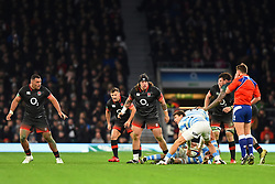 November 11, 2017 - London, United Kingdom - England's Harry Williams, Danny Care and Ellis Genge patrol the base of the scrum during Old Mutual Wealth Series between England against Argentina at Twickenham stadium , London on 11 Nov 2017  (Credit Image: © Kieran Galvin/NurPhoto via ZUMA Press)