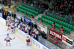 Bench of EC Red Bull Salzburg and empty seat behind bench for security reasons // during ice-hockey match between HDD Tilia Olimpija and EC Red Bull Salzburg in 20th Round of EBEL league, on November 6, 2011 at Hala Tivoli, Ljubljana, Slovenia. HDD Tilia Olimpija won in overtime 3:2. (Photo By Matic Klansek Velej/ Sportida). EXPA Pictures © 2011, PhotoCredit: EXPA/ Sportida/ Matic Klansek Velej..***** ATTENTION - OUT OF SLO *****
