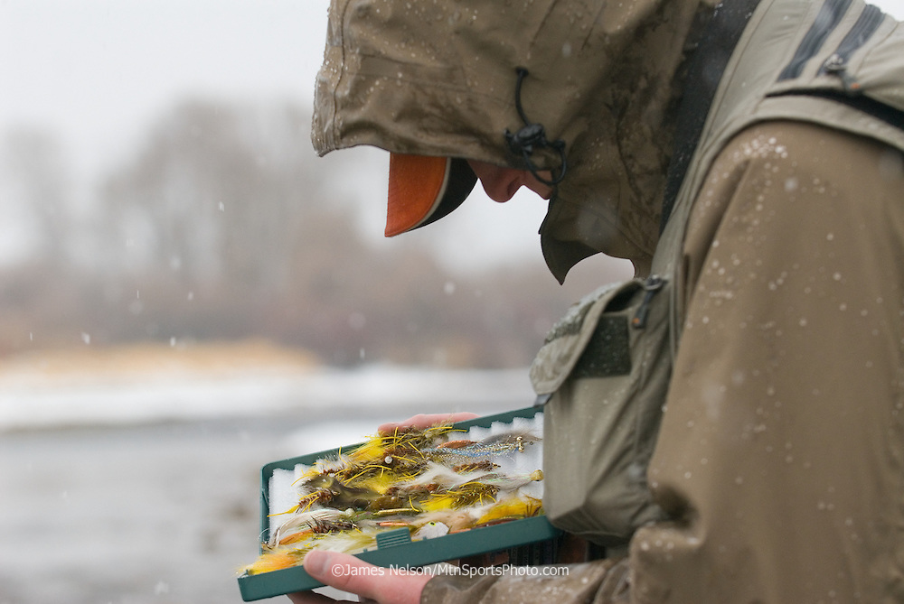 Choosing a streamer fly during a snowstorm on the South Fork of the Snake River, Idaho