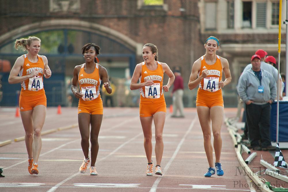 The Tennessee Volunteers womens distance medely team takes a victory lap after winning the College Women's Distance Medley Championship of America at Fraklin Field at the 2010 Penn Relays. The Volunteers won woth a time of 10:54.65.