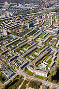 Nederland, Groningen, Groningen, 01-05-2013; De Wijert Noord. Rationele woonwijk uit de wederopbouwperiode. Karakteristieke afwisseling tussen (open) bebouwing en groene ruimtes. De verschillende soorten huizen herhalen zich (herhaalbare module van de wooneenheid ofwel stempels).<br /> <br /> QQQ<br /> luchtfoto (toeslag op standard tarieven)<br /> aerial photo (additional fee required)<br /> copyright foto/photo Siebe Swart