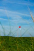 TEXEL- Cocksdorp-TEXELSE GOLF. ILLUSTRATIEF  vlag in de hole op de green. blauwe lucht.COPYRIGHT KOEN SUYK