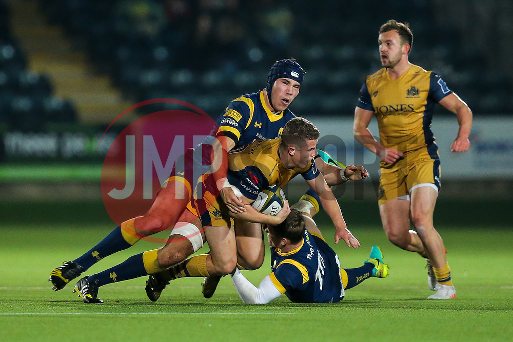 Billy Searle of Bristol Rugby is tackled by Andrew Kitchener of Worcester Warriors - Rogan Thomson/JMP - 04/11/2016 - RUGBY UNION - Sixways Stadium - Worcester, England - Worcester Warriors v Bristol Rugby - The Anglo Welsh Cup.