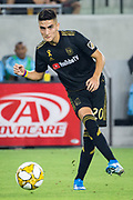 LAFC midfielder Eduard Atuesta (20) moves the ball during an MLS soccer match against the Minnesota United. Minnesota United defeated the LAFC 2-0 on Sunday Sept. 1 2019, in Los Angeles. (Ed Ruvalcaba/Image of Sport)