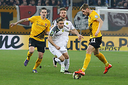 03.03.2015, Stadion Dresden, Dresden, GER, DFB Pokal, SG Dynamo Dresden vs Borussia Dortmund, Achtelfinale, im Bild Dennis Erdmann (#4, Dynamo Dresden), Marcel Schmelzer (#29, Borussia Dortmund), Justin Eilers (#11, Dynamo Dresden) // SPO during German DFB Pokal last sixteen match between SG Dynamo Dresden and Borussia Dortmund at the Stadion Dresden in Dresden, Germany on 2015/03/03. EXPA Pictures &copy; 2015, PhotoCredit: EXPA/ Eibner-Pressefoto/ Hundt<br /> <br /> *****ATTENTION - OUT of GER*****