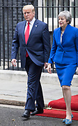 UNITED KINGDOM, London: 04 June 2019 <br /> British Prime Minister Theresa May and President of the United States Donald Trump leave No 10 Downing Street this afternoon during the second day of President Trump's official state visit.