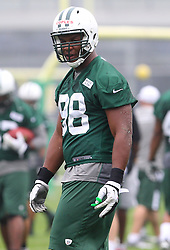 May 24, 2012; Florham Park, NJ, USA; New York Jets defensive end Quinton Cobles (98) during the New York Jets OTA at their training facility.