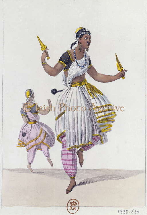 Theatre of Varieties: Costume for 'Les Bayaderes' 1838. Hand-coloured print.