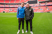 Sam Wedgebury and physio Ian Weston, Ian Forest Green Rovers Football Club Familiarisation visit to Wembley Stadium, London, England on 10 May 2016. Photo by Shane Healey.