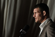 MANCHESTER, ENGLAND, NOVEMBER 12, 2009: Michael Bisping addresses the media during the pre-fight press conference for UFC 105 at the MEN Arena in Manchester, England on November 12, 2009.
