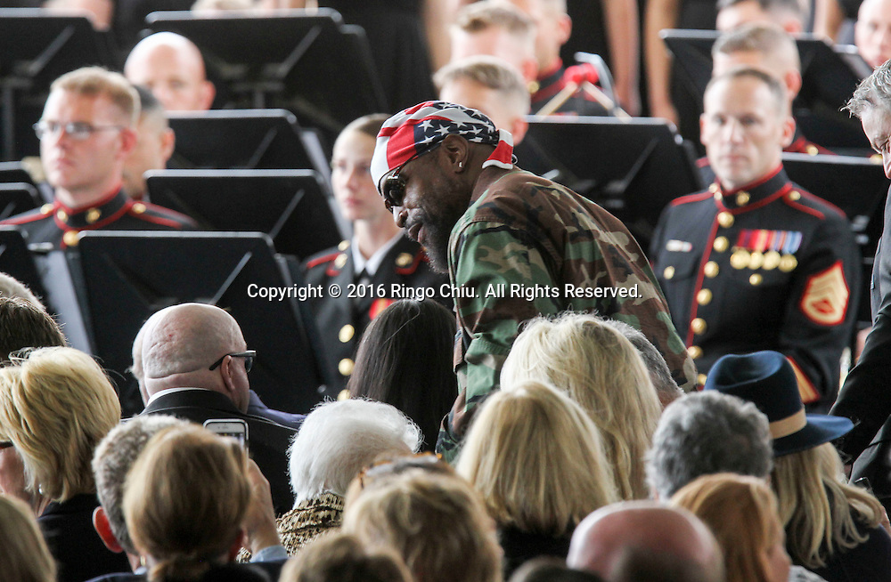 Mr. T arrival during a funeral service for the former first lady Nancy Reagan at the Ronald Reagan Presidential Library and Museum in Simi Valley, California on March 11, 2016. Reagan died of congestive heart failure in her sleep at her Bel Air home Sunday at age 94. A bout 1,000 guests from the world of politics attended the final farewell to Nancy Reagan as the former first lady is eulogized and laid to rest next to her husband at his presidential library.<br />    (Photo by Ringo Chiu/PHOTOFORMULA.com)<br /> <br /> Usage Notes: This content is intended for editorial use only. For other uses, additional clearances may be required.