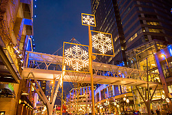 USA, Washington, Bellevue. Holiday decorations in downtown shopping district.