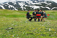 Business People having conference in mountain field