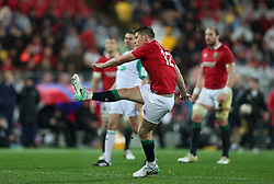 British and Irish Lions' Owen Farrell kicks a penalty during the second test of the 2017 British and Irish Lions tour at Westpac Stadium, Wellington.