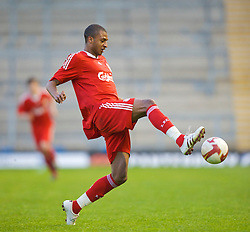 WARRINGTON, ENGLAND - Wednesday, April 29, 2009: Liverpool's David Ngog in action against Newcastle United during the FA Premiership Reserves League (Northern Division) match at the Halliwell Jones Stadium. (Photo by David Rawcliffe/Propaganda)